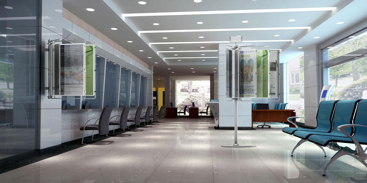 Espositori pubblicitari e display espositivi per banche - Finestre in plexiglass ...